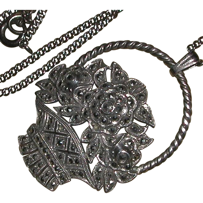 Art Deco Sterling Marcasite Flower Basket Pendant Chain Necklace c. 1915-30 marked