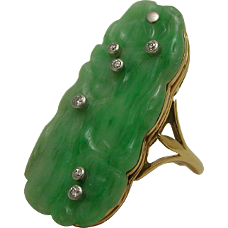 18k Yellow Gold Platinum Carved Jade Jadeite Diamonds Ring Size 6.5 11 Grams