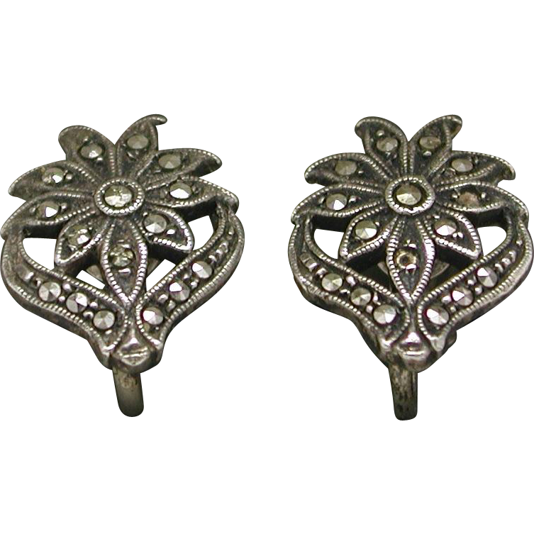 Sterling Marcasite Floral Screw Back Earrings marked c. 1920/30s