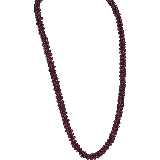 Gorgeous Vintage Rhodolite Garnet Necklace 24 inches 102 grams