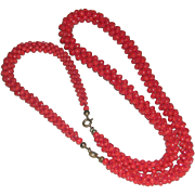 Art Deco Coral Beads Demi-Parure Woven Necklace Bracelet c. 1920s