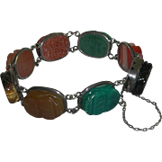 Vintage Original Scarab Carved Semi Precious Stones Sterling Bracelet marked Silver