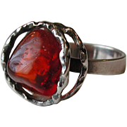 Baltic Amber Polished Nugget Sterling Ring size 8 ¼ 3 grams