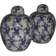 Two Blue White 100 Boys Lidded Jars Kangxi Marks China
