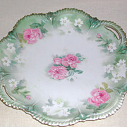 "Flowered RS Prussia Handled Cake Plate marked ""Red Mark"" early 1900s"