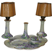 Limoges France Bavaria Hand Painted Dresser Vanity Set 7 pieces Violet Motif Suffragette Colors marked