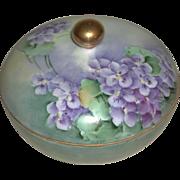 Hand Painted Porcelain Three Piece Hair Receiver Violet Motif Suffragette Colors La Seynie Limoges PP France marked