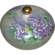 Hand Painted Porcelain Three Piece Hair Receiver Violet Motif Suffragette Colors La Seynie Limoges PP France marked