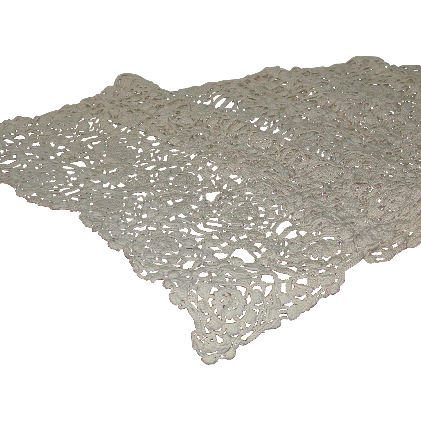 Exceptional Hand Crochet Dresser Buffet Scarf Doily  Long 52 Inches by 21 Inches