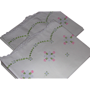 Vintage Set Embroidered White Cotton Pillowcases Floral Pink Blue Green Crochet Scallop Edge