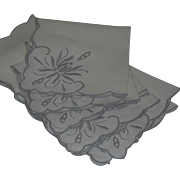 Luncheon Tea Tablecloth 6 Napkins Set All Over Taupe Embroidered
