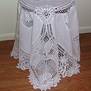 Battenberg Lace Embroidered Round 70 inches White Tablecloth