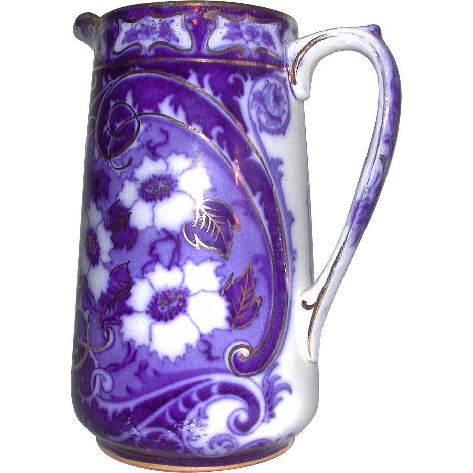 Flow Blue Gold Accent Flower Milk Jug Pitcher Charles Meigh Staffordshire 1800s