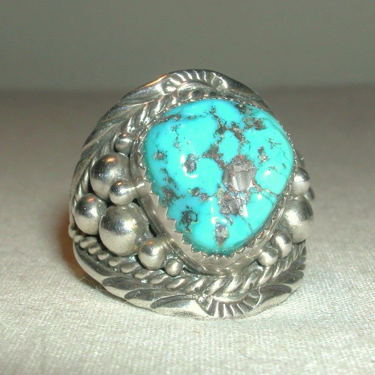 Vintage Sterling Large Men's Unisex Blue Turquoise Nugget Navajo Ring signed EB Eugene Belone