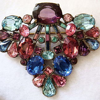 1920's Faceted Glass Stone Pin/Brooch