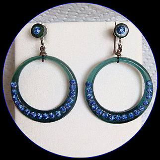 1920's Celluloid Blue Rhinestone Hoop Earrings