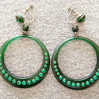 1920's Celluloid Green Rhinestone Hoop Earrings