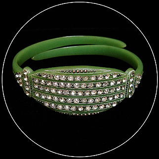 1920s Celluloid Jade Green Color Rhinestone Bracelet