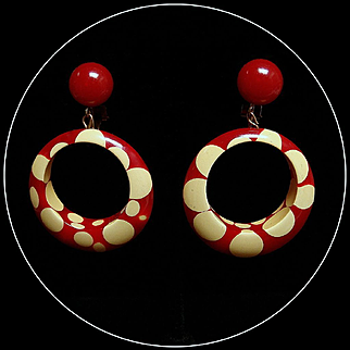 Vintage 1940s Bakelite Cherry Red Random Dot Earrings