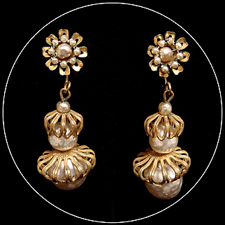Miriam Haskell 1950s Faux Baroque Pearl Earrings