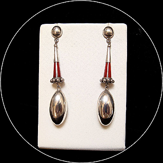 1950s Long Silver Dangling Earrings
