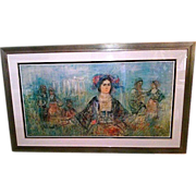 "Signed HIBEL (Edna Hibel 1917-2014) ""Greece"" - 35"" x 60"" Lithograph On Silk Limited Edition"