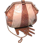 Vintage Beige Leather Snakeskin Purse Bag with Chain