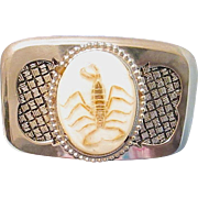 Vintage Cowboy/Cowgirl Belt Buckle with Real Scorpion Embedded on Stone