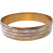 Glow Brass Bangle with Inlaid Rows of White Mother of Pearl