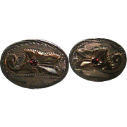Vintage Sterling/10K Mexican Floral Cuff-links with Ruby Center