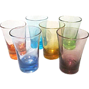 6 Vintage Multi-Colored 2 oz Holiday Shot Glasses