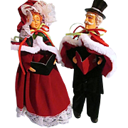 Victorian Styled Pair of Singing Christmas Caroling Decorative Dolls