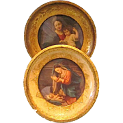 Two Small Round Wood Framed Beautiful Madonna and Child Prints ~ Italy