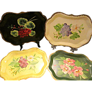 Lot of 4 Beautiful Vintage Hand Painted Tole Trays
