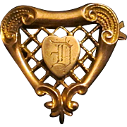 "Edwardian Gold Filled Heart Shaped Initialed ""D"" Brooch Pin - Plainville Stock Company - 1910"