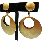 Nice Retro Gold Sheen Metal Drop Hoops with Cut Out & Lever Backs