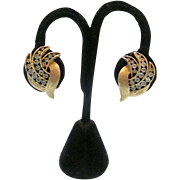 Crown Trifari© Gold Tone Leafy Clips with Clear Round Rhinestones - 1960s