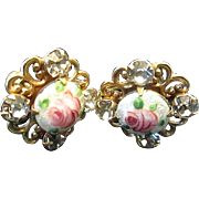 Beautifully Romantic Pink Rose Guilloche Enameled Rhinestone Screw Back Earrings