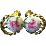 Vintage Enameled Guilloche Gold Tone Screw Post Style Earrings