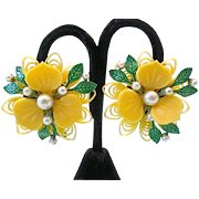 Vintage Spring Time Plastic Enamel Clip Earrings with Faux Pearls