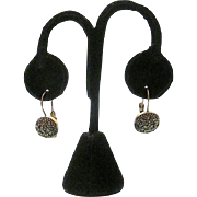 Beautiful Signed Silver Tone Marcasite & Crystal Lever-back Hook Earrings ~ Liz Claiborne