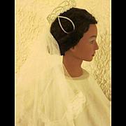 Vintage White Bridal Wedding Veil with Lace Edge & Pearl Crown Headpiece