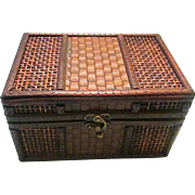Vintage Dark Stained Wood Box with Faux Leather Basket Weave and Added Designs / Clasp