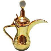 Dallah Arabic Coffee Pot Turkish Style with Ewer Pitcher & Long Crescent Spout