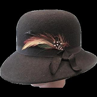 Stylish Lancaster Black 100% Wool Women's/Ladies Hat - c1980s