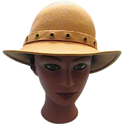 Vintage Camel Tan Doeskin 100% Wool Felt Ladies/ Women's Designer Hat  Geo. W. Bollman & Co. U.S.A.