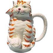 Whimsical Ceramic Calico Cat Teapot with Removable Ear