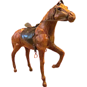 Handcrafted Leather Horse Statue Figurine Sculpture -Tan/Brown - Equestrian Collectible