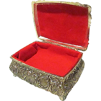 Small Metal Jewelry/Trinket Box Intricately Detailed 17th Century Design - 1960s