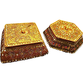Two Lovely East Indian Designed Trinket Styled Boxes